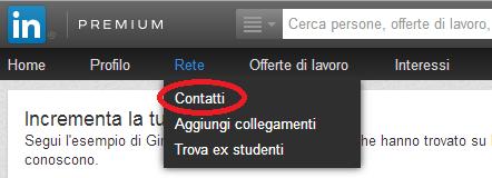 Sezione Contatti su LinkedIn